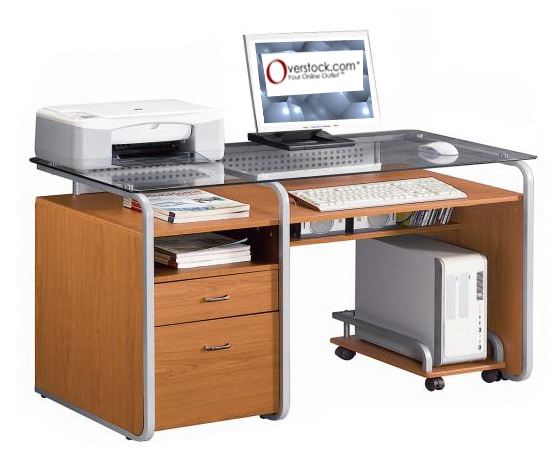 Deluxe Glass Top Computer Desk With File Drawer 11305293