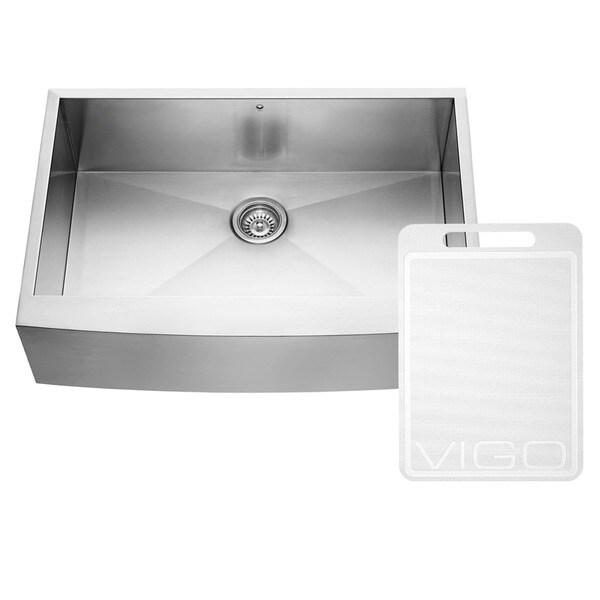 vigo 33 inch farmhouse stainless steel 16 gauge single bowl drop in kitchen sink 11312999. Black Bedroom Furniture Sets. Home Design Ideas