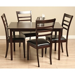 Justin 5 Piece Bi Cast Leather And Wood Dining Set