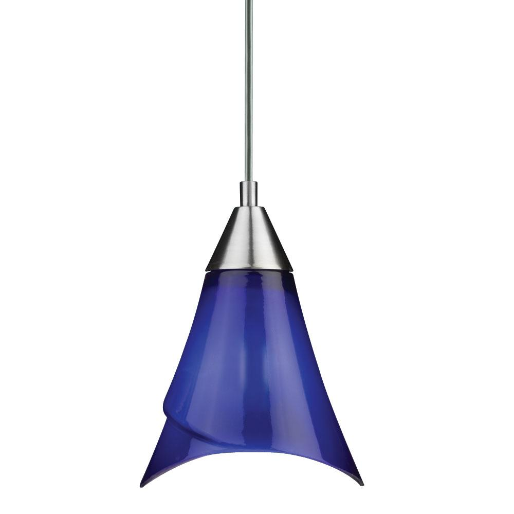 Brushed Nickel Blue Glass Mini Pendant Light - 11349773 ...