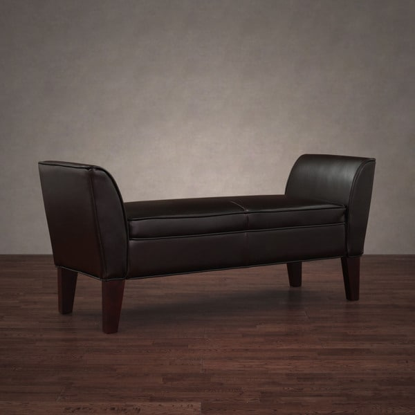 Drake Dark Brown Leather Bench 11372464 Overstock Com Shopping Great Deals On I Love Living Benches