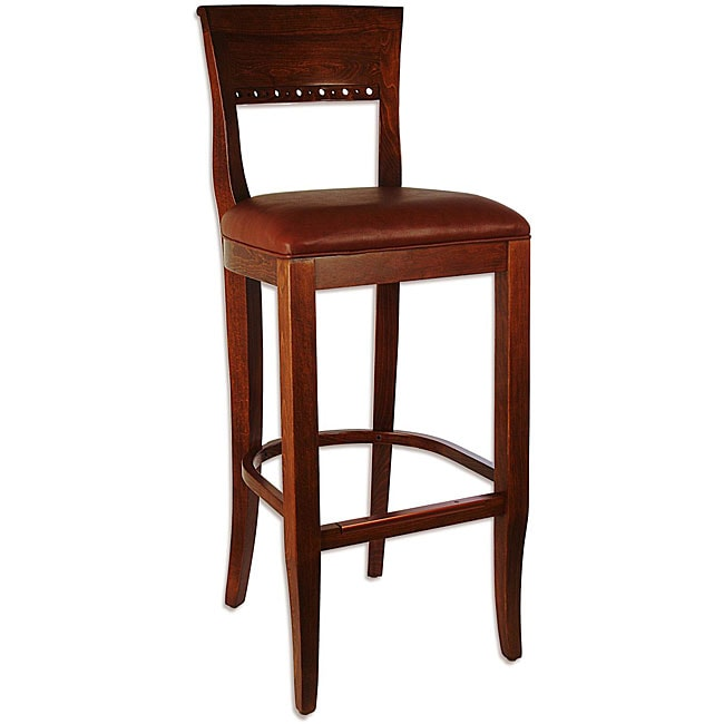 Overstock Bar: Biedermier Brown Seat Medium Oak Barstool