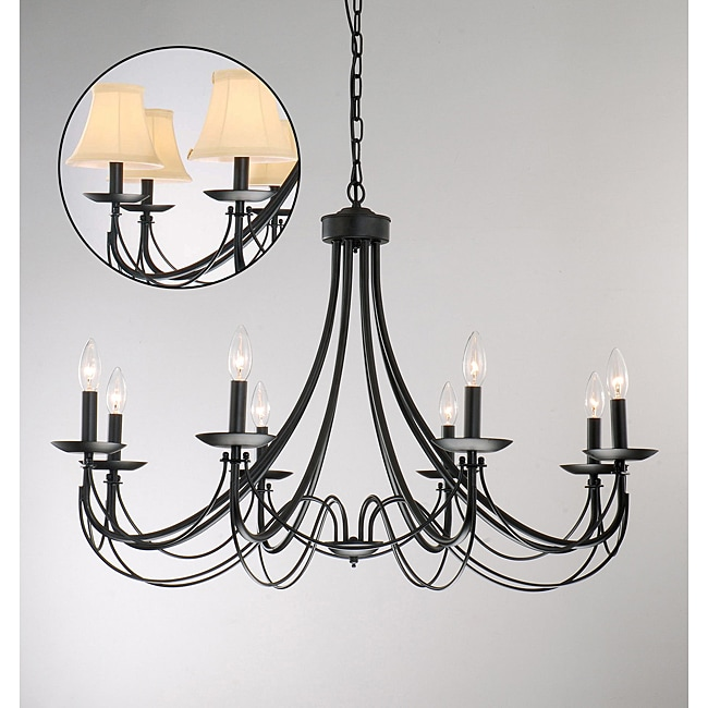 Iron 8 Light Black Chandelier 11387581 Overstock Com Shopping Great Deals On The
