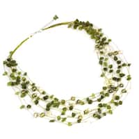 Handmade Brass Peridot and Pearl Cool Shower Elegant Beaded Necklace (5 mm) (Thailand) - Green