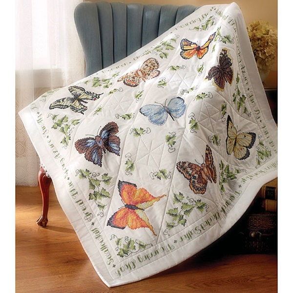 'Butterfly Collection' Stamped Lap Quilt Top - 11436403 ...
