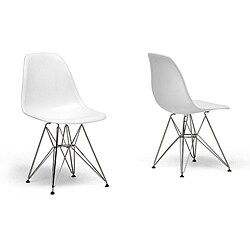 Buy Online Ronnie Wire Base White Chairs Set Of 2