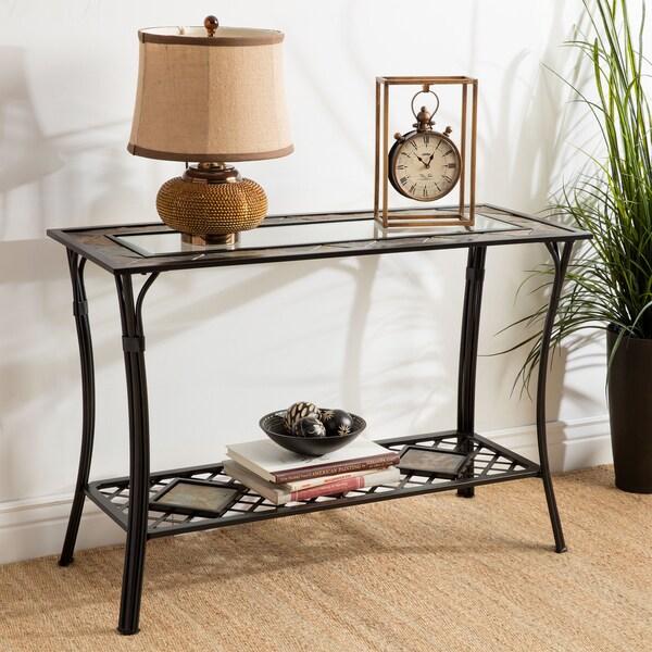 Slate Glass Steel Sofa Table 11446690 Overstock Com