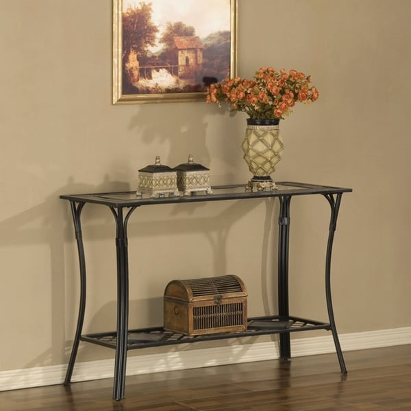 Slate And Glass Coffee Table For Sale: Slate/ Glass/ Steel Sofa Table