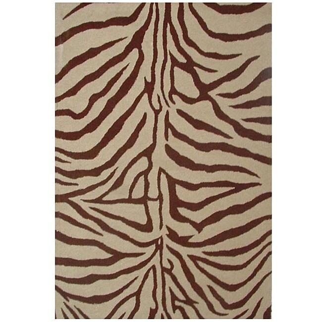 Hand Tufted Zebra Brown Wool Rug 5 X 8 11448034