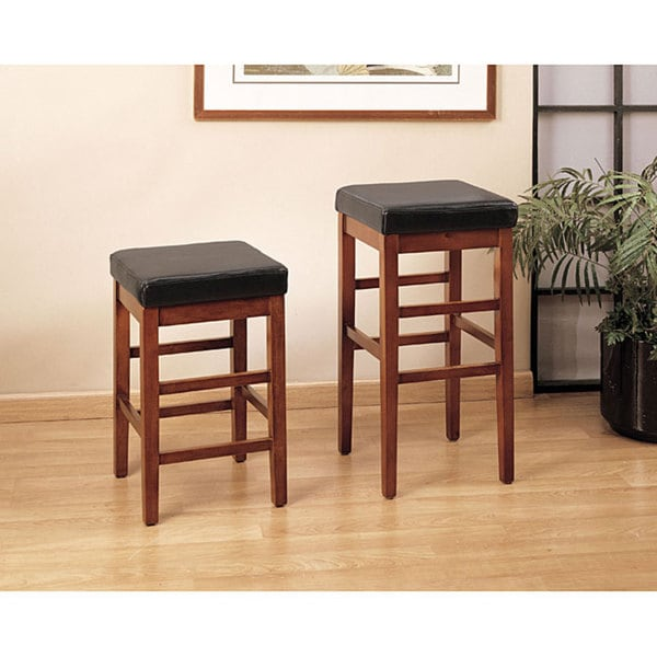 Sonata Square Leather Seat Backless Barstool 11457822