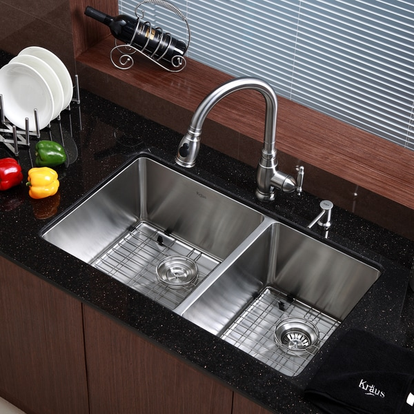 Kraus 33-inch Undermount 60/40 Double Bowl Steel Kitchen
