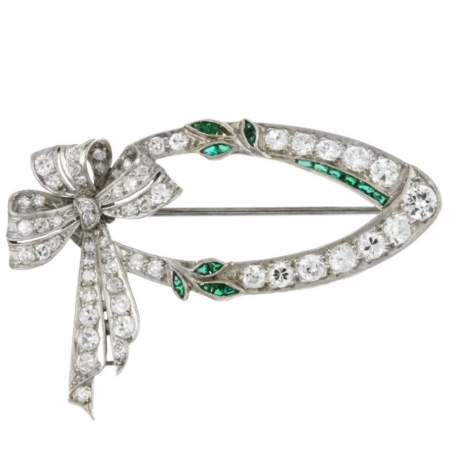 Pre-owned Platinum 2 1/10ct TDW Diamond/ Emerald Art Deco