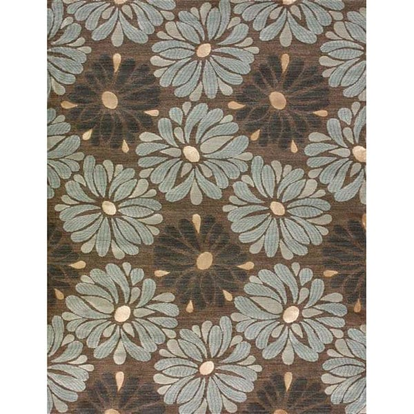 Amber Brown And Blue Floral Rug 7 7 X 10 5 11498801