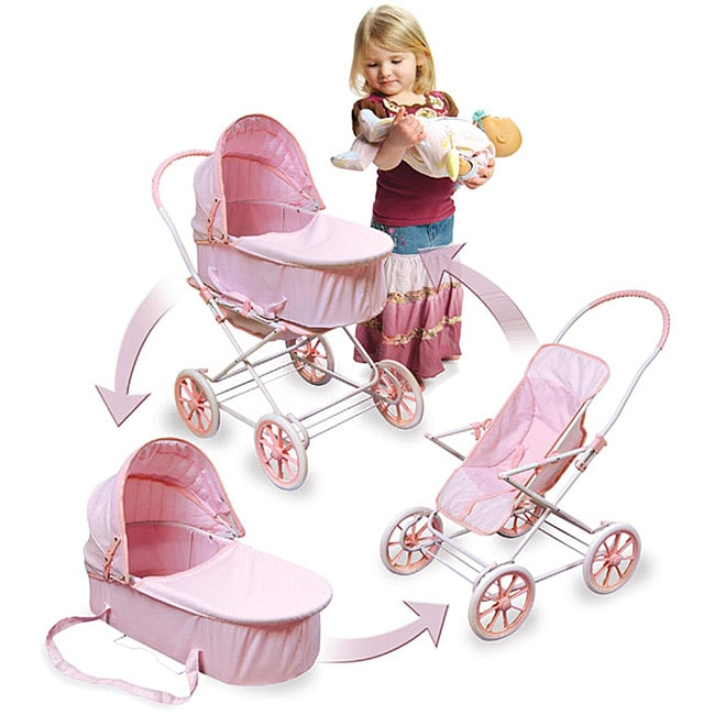Pink Gingham Doll Toy Pram Carrier And Stroller