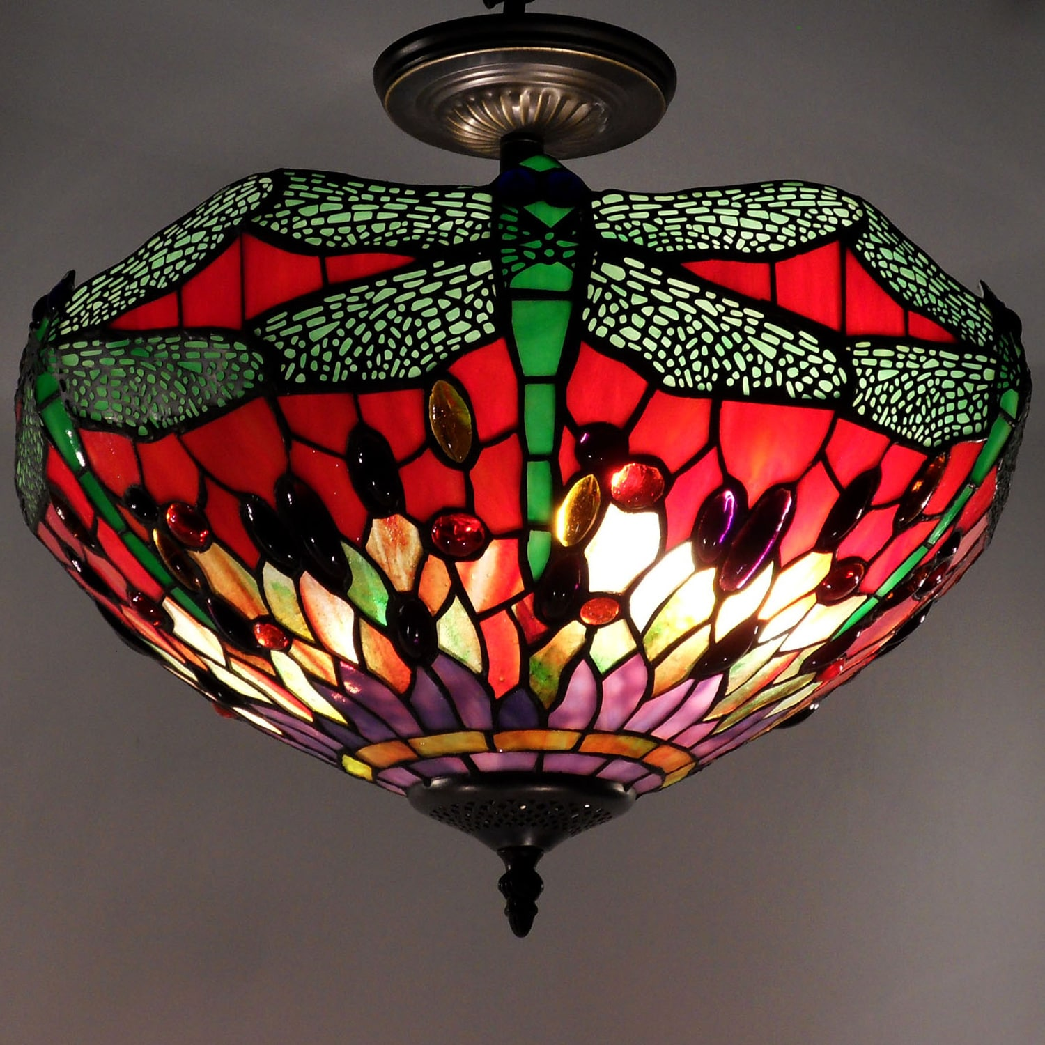 Tiffany Style Dragonfly Ceiling Lamp 11540989