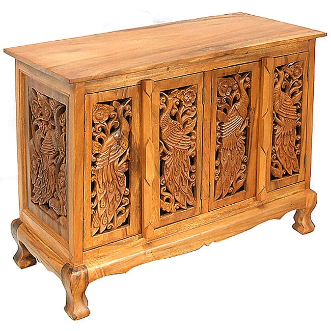 Hand Carved Peacocks Storage Cabinet Sideboard Buffet