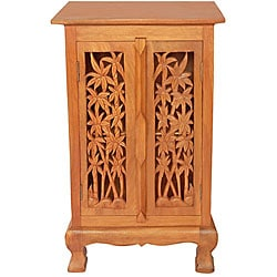 Carved Bamboo Trees Storage Cabinet/ End Table - Overstock ...