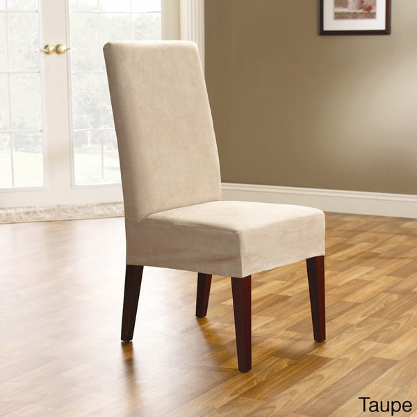 Fitted Dining Room Chair Covers: Sure Fit Smooth Suede Shorty Dining Room Chair Covers (Set