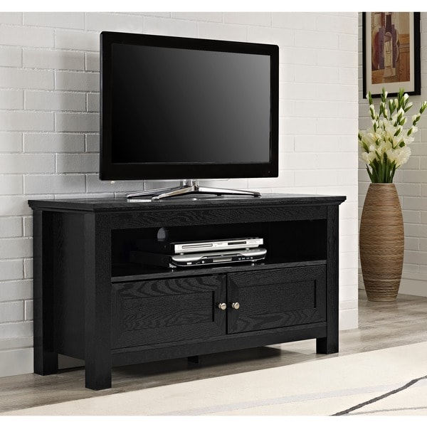 44 in black wood tv stand 11552150 shopping great deals on walker edison. Black Bedroom Furniture Sets. Home Design Ideas