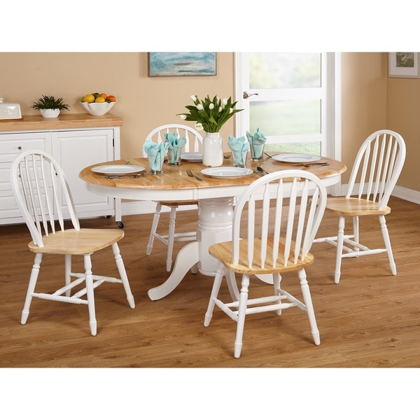 Simple Living Farmhouse 5 Or 7-piece White/ Natural Dining