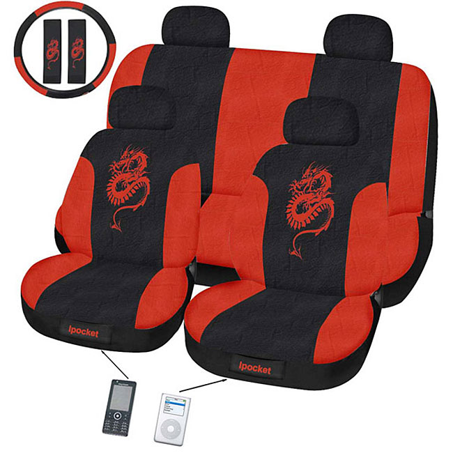 11 Piece Car Truck Seat Cover: Dragon Red 11-piece Universal Fit Seat Cover Set (Airbag