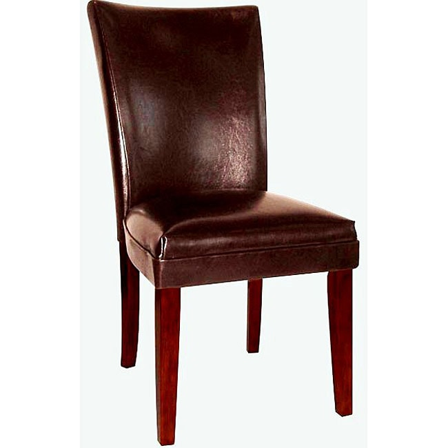 empire brown bicast leather parson chairs set of 2 11577870 shopping great. Black Bedroom Furniture Sets. Home Design Ideas