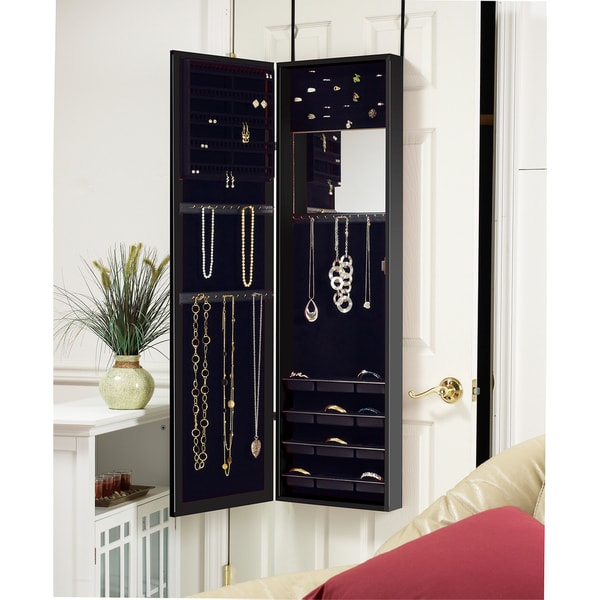 over the door mirrored jewelry armoire black 11603045 shopping great deals. Black Bedroom Furniture Sets. Home Design Ideas