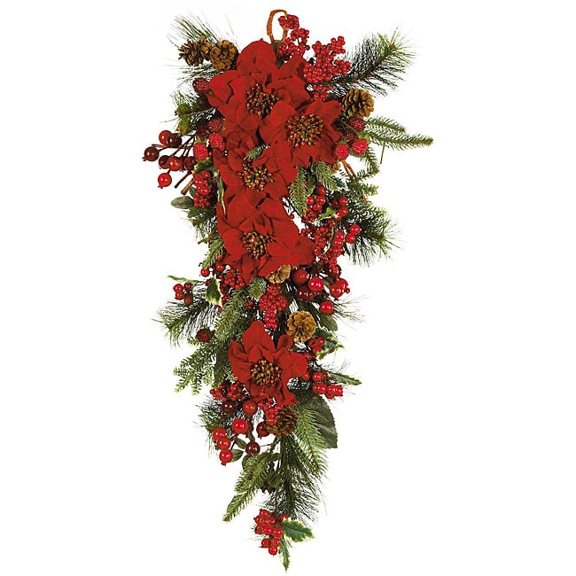 Poinsettia Teardrop Silk Flower Arrangement 11720120