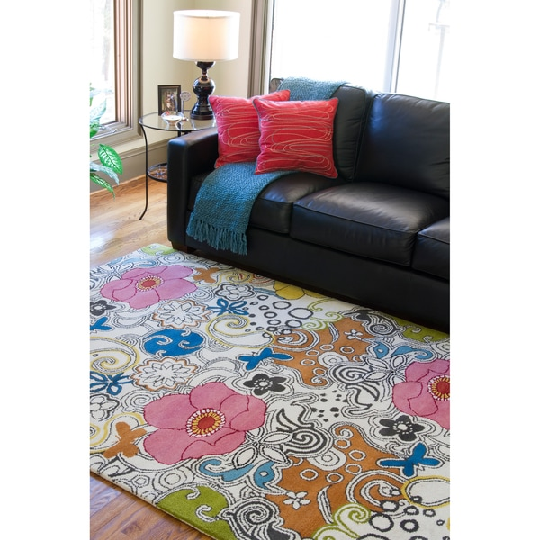 Hand Tufted Contemporary Multi Colored Floral Genesis New