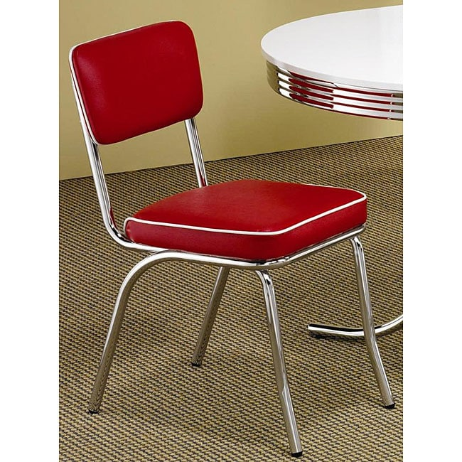 Red Kitchen Table And Chairs Set: Rose Red Retro Chrome Chairs (Set Of 2)