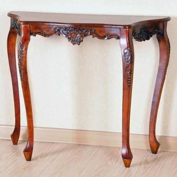 Half Wall Table: International Caravan Carved Wood Scalloped Wall Table
