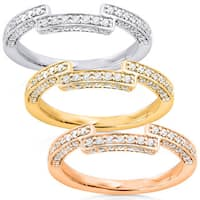Annello by Kobelli 14k Gold 1/4ct TDW Round Diamond Square Notch Curved Wedding Band