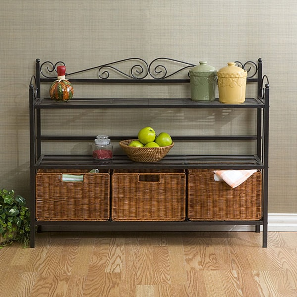 baker 39 s rack with three rattan drawers 11748413 shopping great deals on. Black Bedroom Furniture Sets. Home Design Ideas