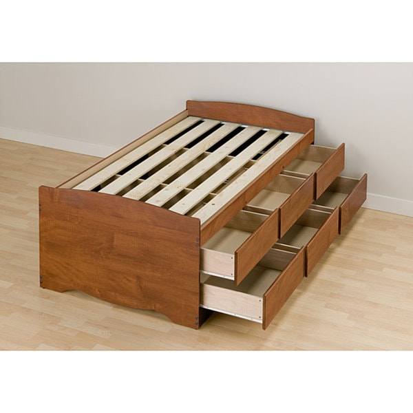 Cherry Tall Twin 6 Drawer Captain S Platform Storage Bed 11763261 Overstock Com Shopping