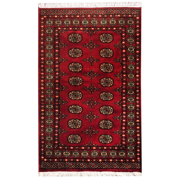 Shop Herat Oriental Pakistan Hand Knotted Bokhara Red: Herat Oriental Pakistan Hand-knotted Bokhara Red/ Ivory