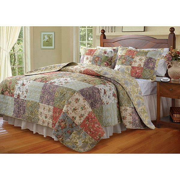 Greenland Home Fashions Blooming Prairie 3 Piece Quilt Set