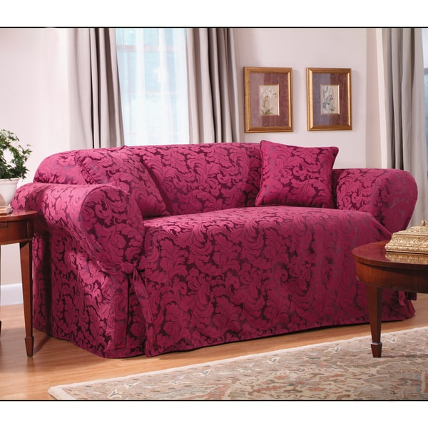 Ruffled Sofa Slipcover Sure Fit Scroll Sofa Slipcover - 11886624 - Overstock.com ...