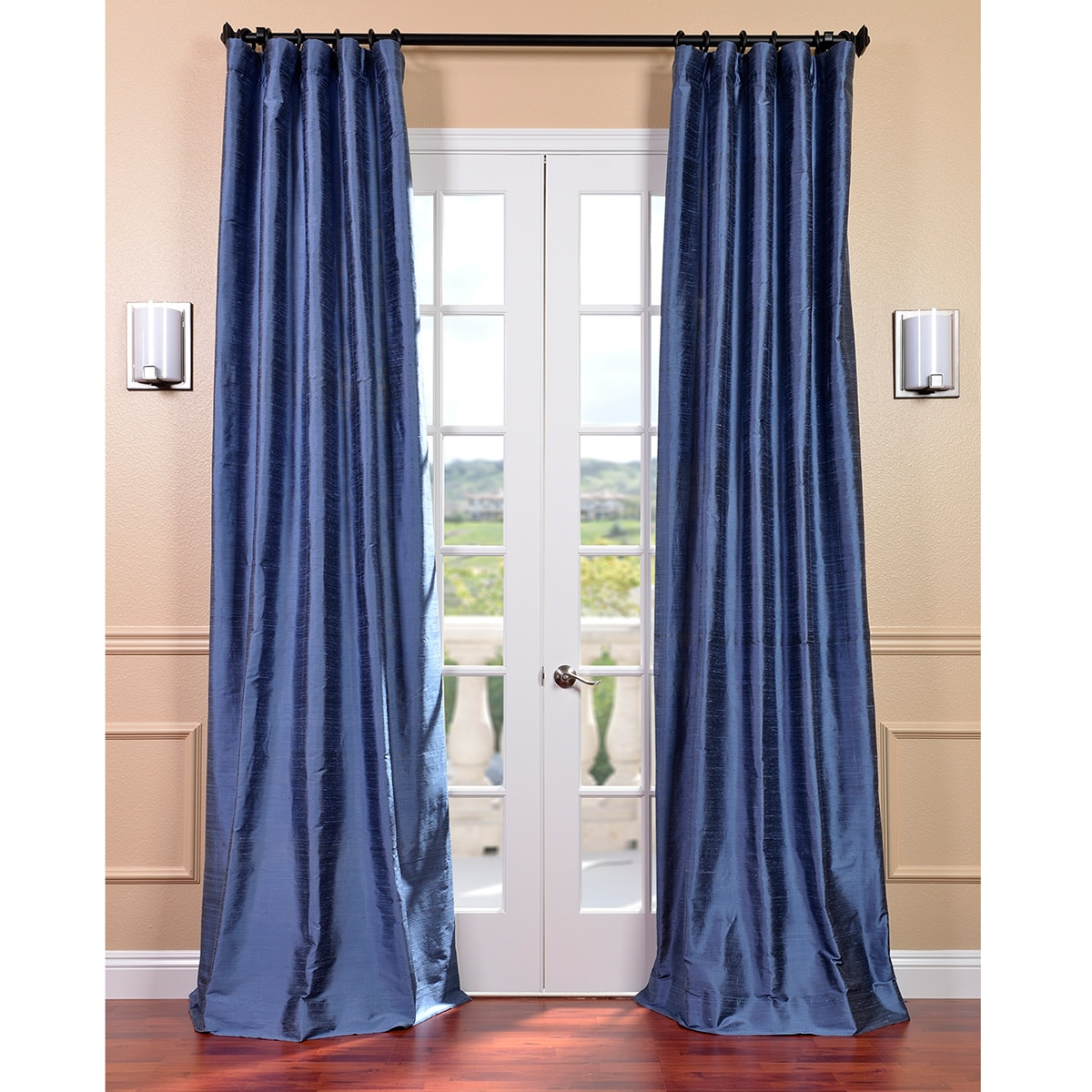 Signature Winter Blue Textured Silk 96-inch Curtain Panel