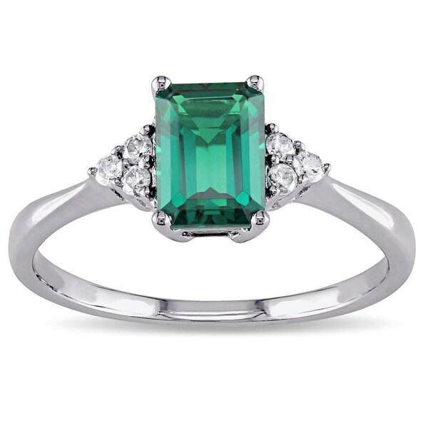 Miadora 10k Gold Created Emerald And 1 10ct Tdw Diamond