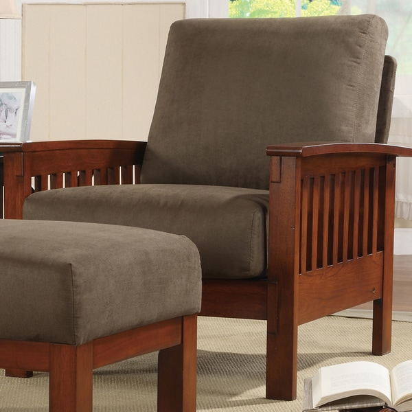 Tribecca Home Hills Mission Style Oak And Olive Microfiber