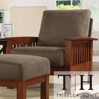 Tribecca Home Hills Mission Style Oak And Olive Microfiber