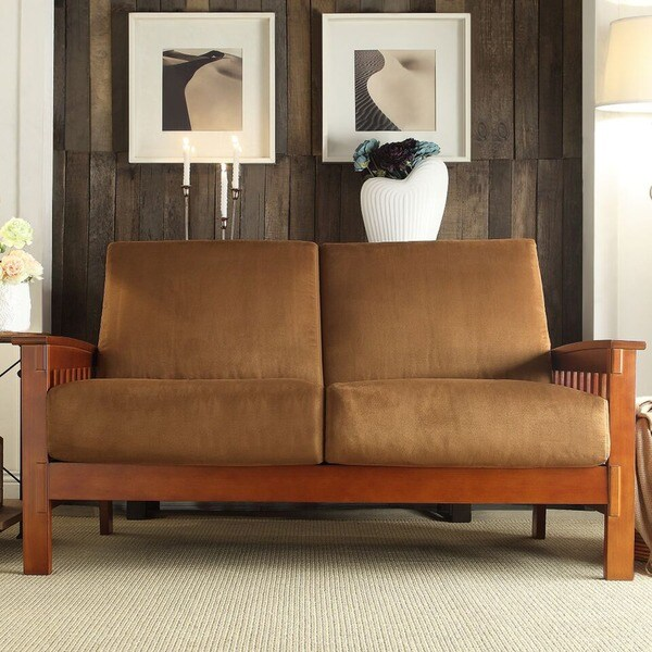 Tribecca Home Hills Mission Style Oak And Rust Loveseat