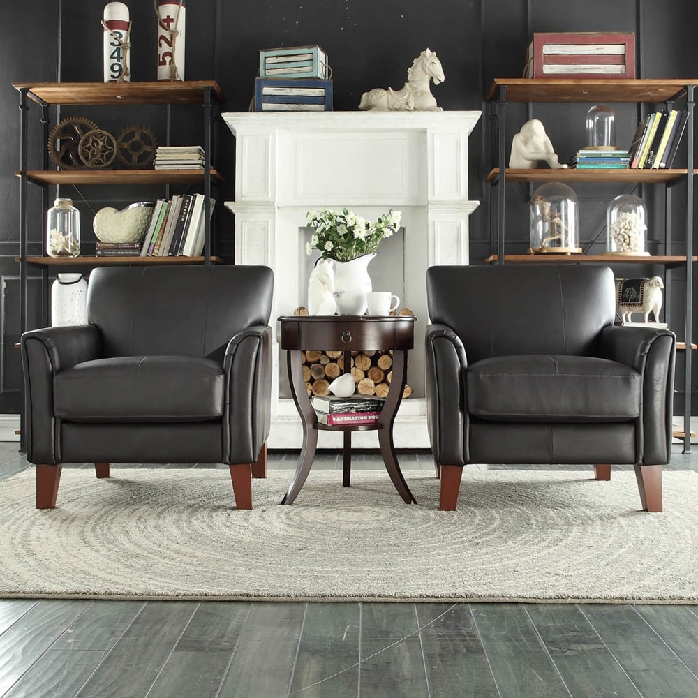 TRIBECCA HOME Uptown Modern Dark Brown Faux Leather Accent
