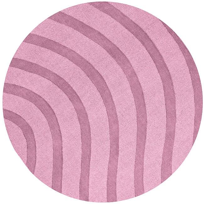 Purple Wool Waves Rug (8' Round)