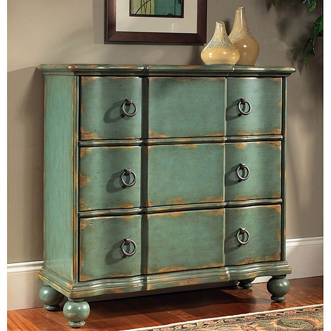 Overstock Com Tips Ideas: Hand-painted Distressed Blue/Green Accent Chest