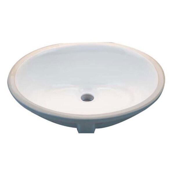 Oval White 17x14 Inch Undermount Vanity Sink 11972429