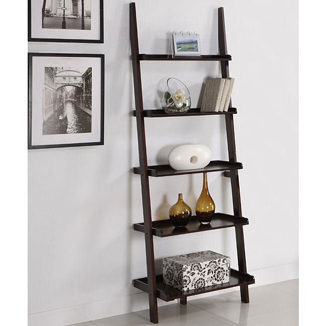 Walnut Five Tier Ladder Shelf 11977035 Overstock Com