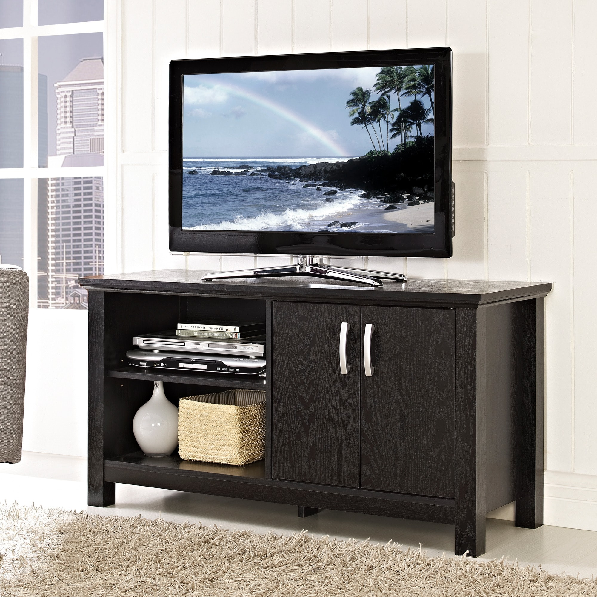 44 inch black wood tv stand overstock shopping great deals on entertainment centers. Black Bedroom Furniture Sets. Home Design Ideas