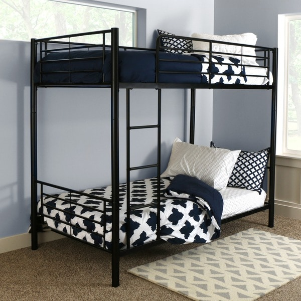 Black Metal Twin Bunk Bed 12021635 Overstock Com