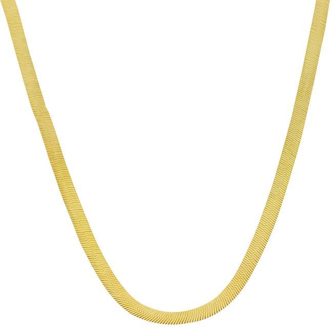 16 Inch Gold Herringbone Necklace: 10k Two-tone Gold 20-inch Reversible Herringbone Chain